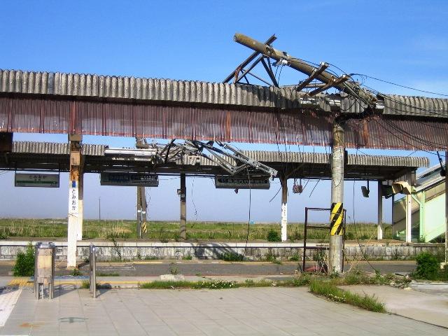 津波に襲われた富岡駅