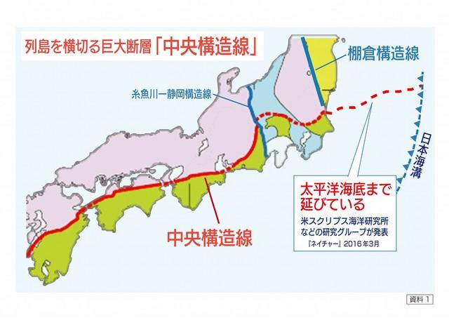 列島を横切る巨大断層「中央構造線」